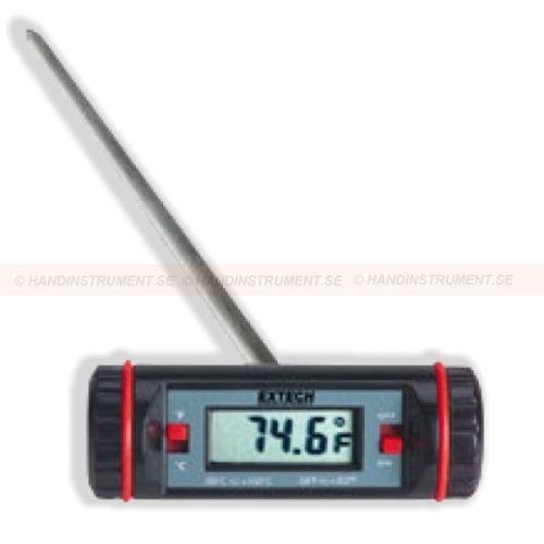 http://handinstrument.se/termometer-r1288/termometer-skaft-53-392065-r1443  Termometer, skaft  124 mm givare av rostfritt stål  9mm LCD-skärm  ON / OFF sparar batteritid  Temperatur: -50 till 150 ° C  ± 1 ° C noggrannhet, 0,1 ° / 1 ° upplösning Garanti: 2 År Leveranstid: 4-5 Veckor