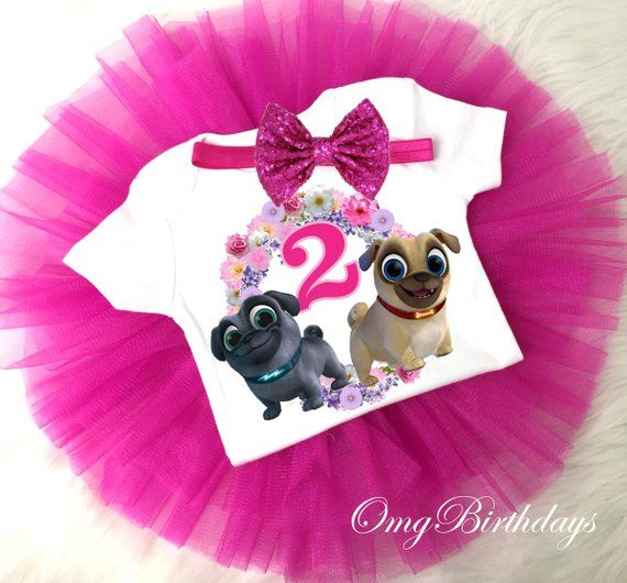 Puppy Dog Pals Hot Pink 2 Custom Age Girls Birthday Outfit Shirt