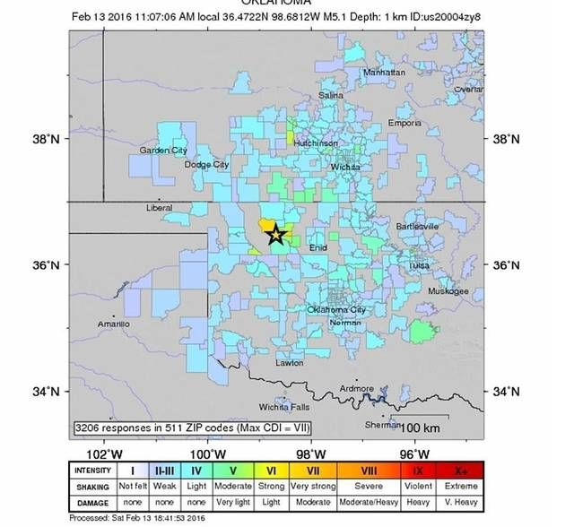 """A map of responses to the United States Geological Survey's """"Did You Feel It?"""" form. On 2-13-16, south central Kansas felt a big (for us) earthquake that got everyone talking. Here's the scoop: http://www.kansas.com/news/local/article60219936.html"""