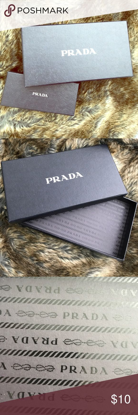 PRADA Authentic Scarf/Gloves Box Prada scarf or gloves box. Lined in Prada print. Awesome storage box for your delicate accessories! Prada Accessories