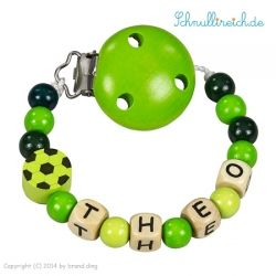 Schnullerkette mit Namen Grün mit Fussball