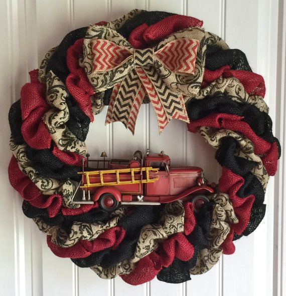 Hey, I found this really awesome Etsy listing at https://www.etsy.com/listing/237373721/firefighter-burlap-wreath-firetruck