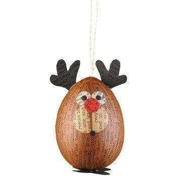 Reindeer Paper Mache Ornament