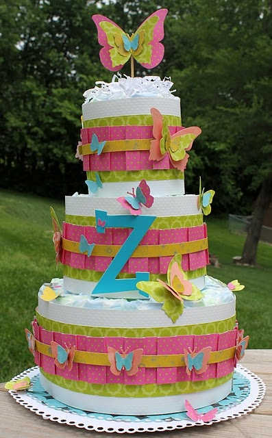 diaper cake: Shower Ideas, Butterflies Diapers, Gifts Ideas, Diapers Cakes, Parties Ideas, Future Baby, Paper Design, Birthday Cakes, Baby Shower