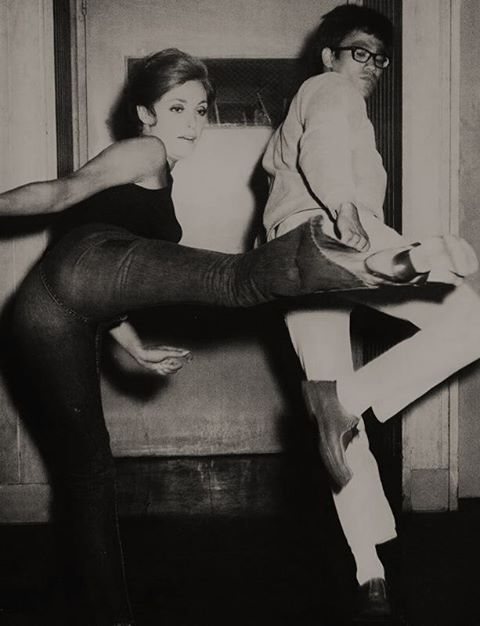 Bruce Lee working with Sharon Tate so she could do her own stunts in the movie The Wrecking Crew (1968).