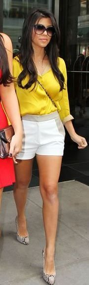 Who made Kourtney Kardashian's yellow button down shirt, shorts, snake pumps, handbag and black sunglasses that she wore in New York? Shorts – Sachin + Babi  Shirt – Honor  Shoes – Christian Louboutin  Sunglasses – Balenciaga  Purse – Chanel