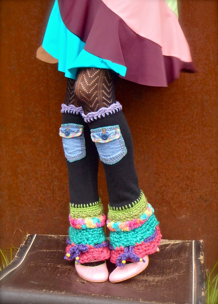 Black HIPPIE LEG Warmers Colorful leg warmers Flared leg warmers cute Denim POCKETS Bell Bottoms eco friendly Rainbow.