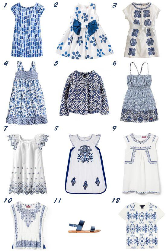 Azul y blanco tendencia moda niña primavera 2014
