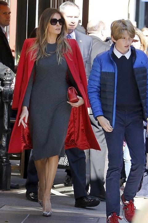 Melania Trump wearing Christian Louboutin Python So Kate Pumps