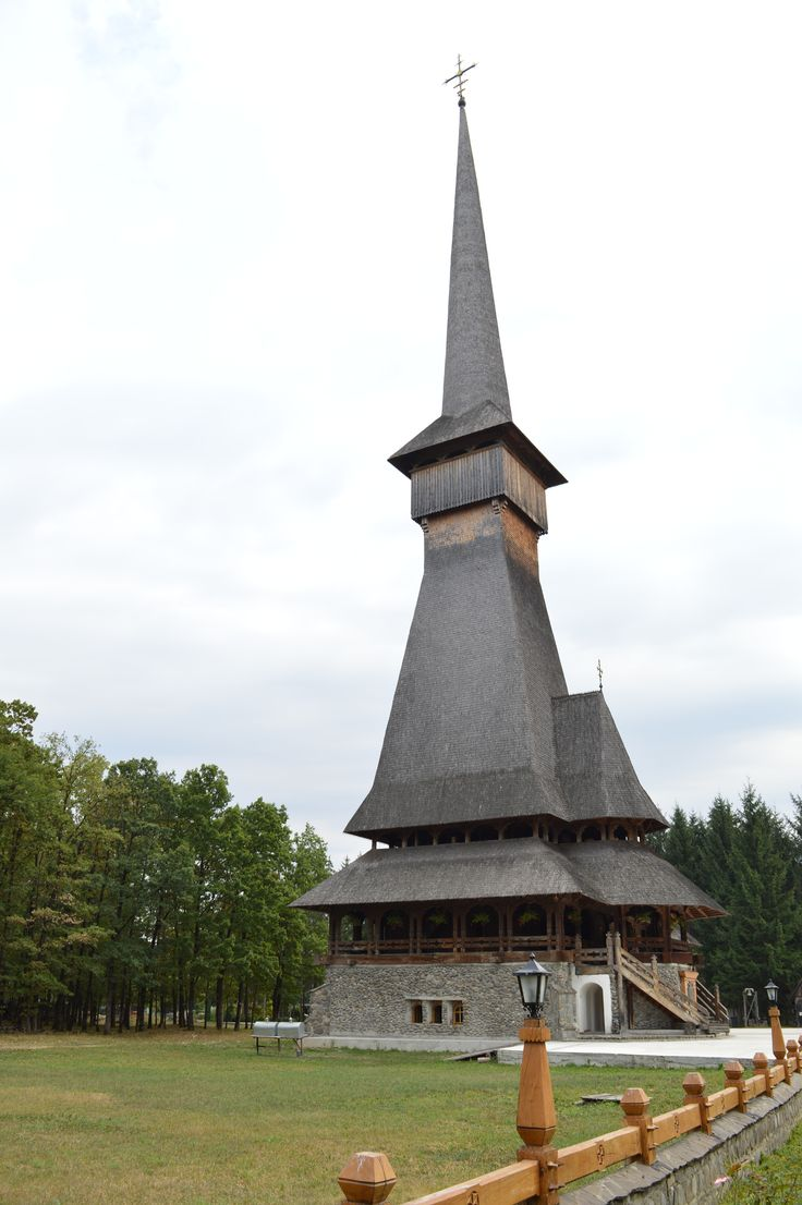Săpânța-Peri Monastery, Săpânța, Maramureş County.  The impressive tower of about 78m transforms the edifice in the highest wooden church in the world.