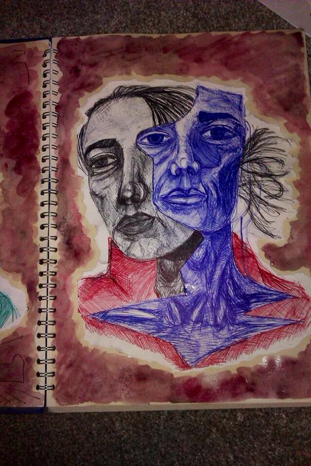Biro drawing for Manny Robertson critical study