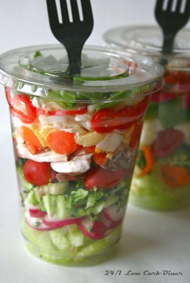 Salad in a cup. I feel like I should be opposed to using so many throw away plays it containers. But this seems like it would make life easier than washing a bunch of mason jars. Just bring one of these to work, then toss!
