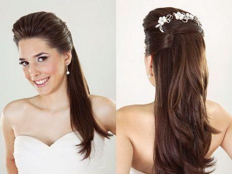 Penteados para noivas cabelos longos e lisos