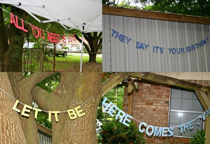 Beatles Birthday Party Song Lyric Banners | www.inklingsandyarns.com-- definite possibility!