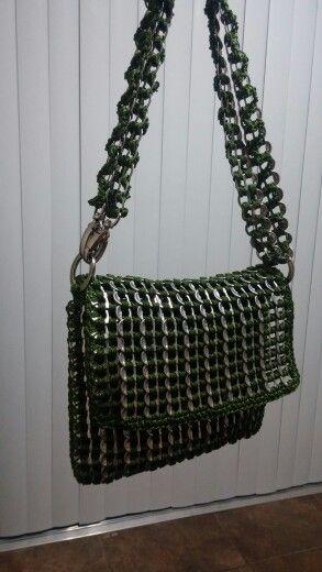 Army green pop tab purse