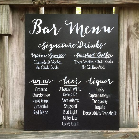 25 best ideas about Menu Templates – Sample Chalkboard Menu Template