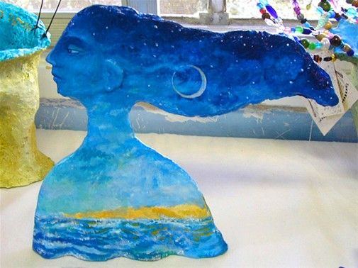 Gaya of the sea-23cm tallLiat Benyamini Ariel Arstist and teacher of recycled art and Paper Mache