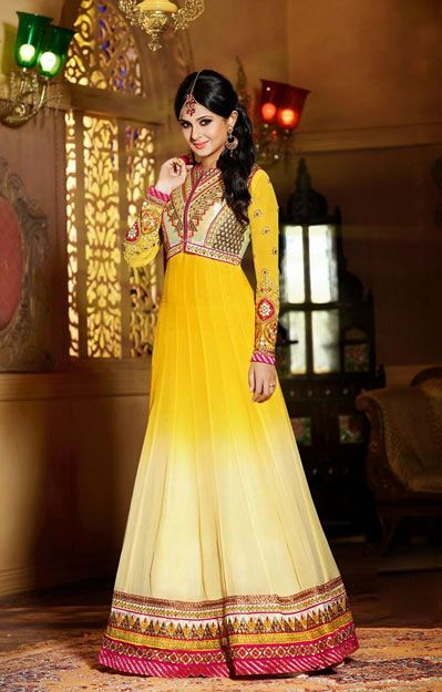USD 107.59 Kumud Yellow and Cream Designer Two Shaded Floor Length Suit  40279