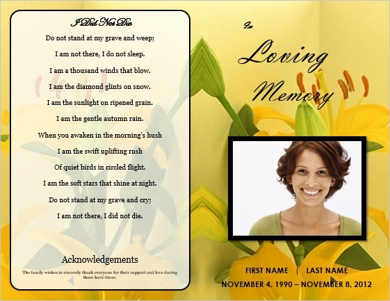 78 images about Printable Funeral Program Templates – Funeral Service Announcement Template