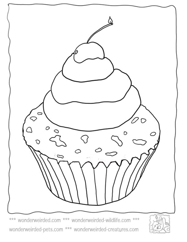 Cupcake Coloring Page Food Coloring Pages at www.wonderweirded.com/cupcake-coloring-page-cupcake-template.html, Cupcake Templates  from our Coloring Pages of Food Free Printable Kids Activities Plain Cupcake Picture