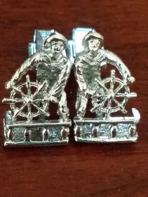 Vintage Sailor Fisherman Silver Cufflinks Signed Emmons Boating Yachting Ships Wheel Rain Slicker Nautical Ocean