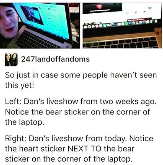 """Phil's nickname for Dan IS """"bear"""", and Phil likes to put stickers on laptops. Adorable, all I'm saying."""