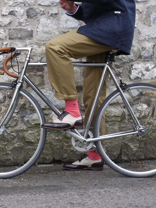 A touch of colour for colder climes. Salmon pink Oxford socks.