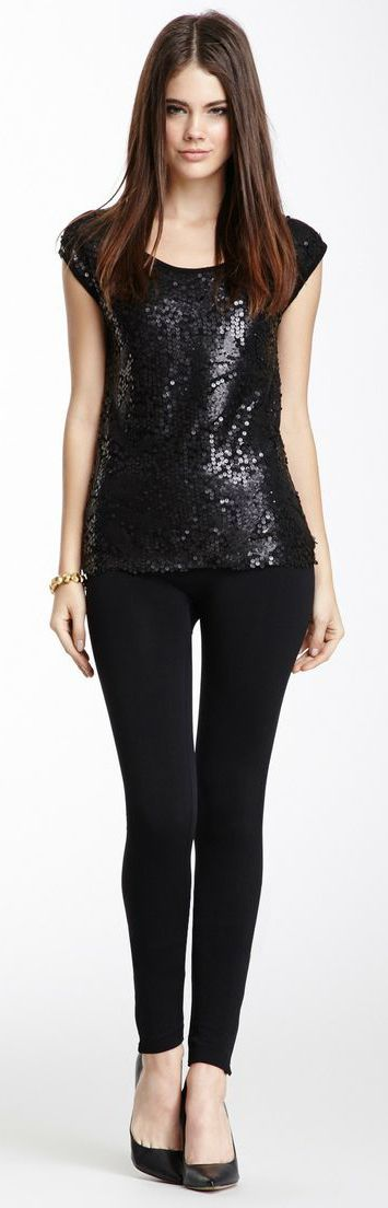 Cute black sequin top