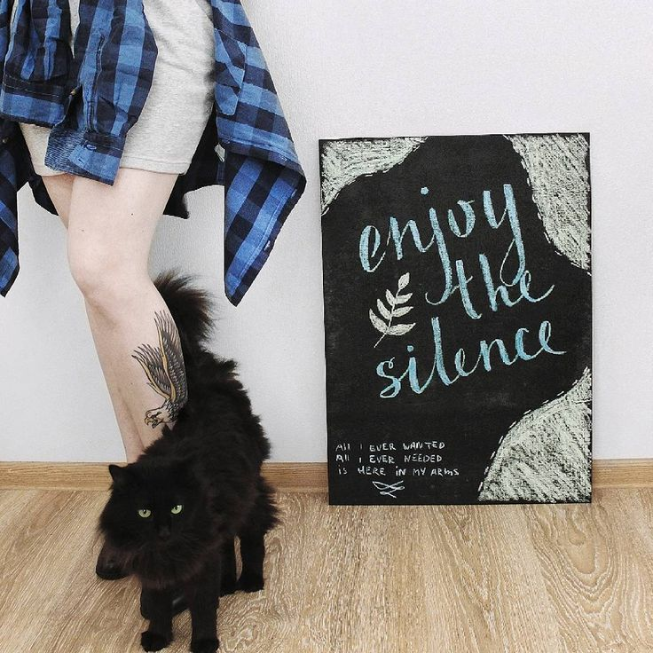 black cat chalk lettering enjoy the silence art minimal