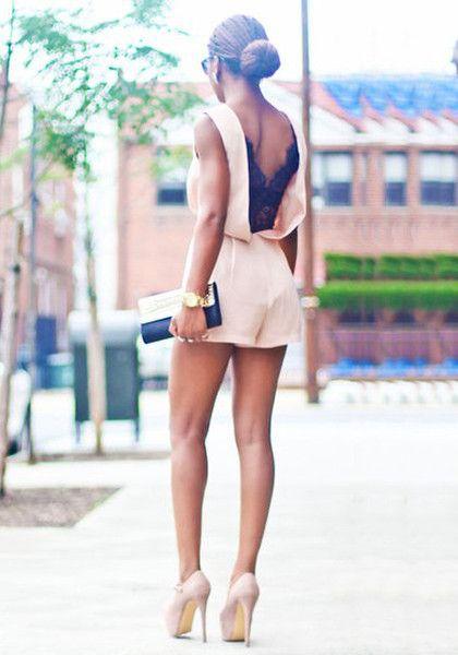 V Back Lace Romper