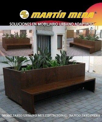 Banco-jardinera, mobiliario urbano en acero corten