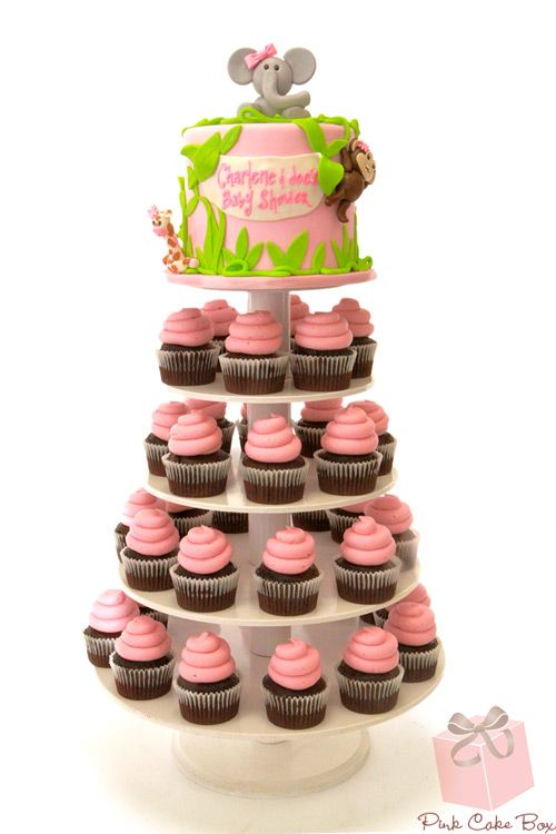 Jungle Girl Baby Shower Cupcake Tower by Pink Cake Box in Denville, NJ.  More photos and videos at blog.pinkcakebox....