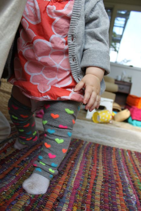 DIY baby clothes - leg warmers from knee high socks!