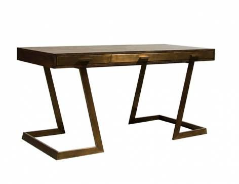 """Oslo Grey Oak Desk with Aged Brass Frame Mecox.com $5,215 59""""Wx27.5""""Dx29.5""""H  Chair clearance 26""""Wx25.5""""H"""
