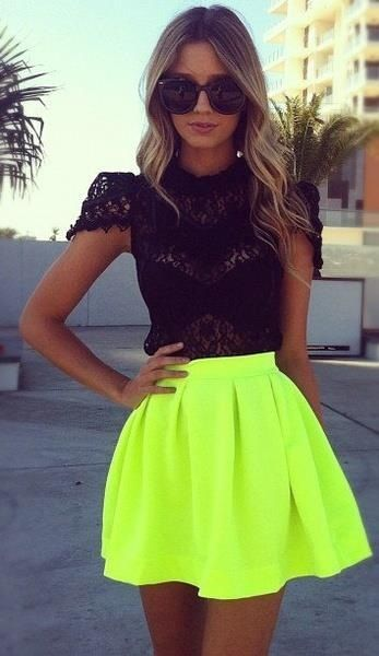 Love this neon skirt, Women fashion #westly