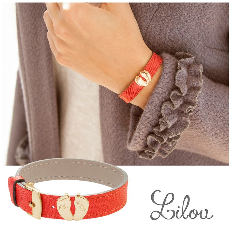 Choose a special engraving for theBaby feet jewel for leather bracelet by Lilou! #lilou #bracelet #leather #baby #feet #engraving