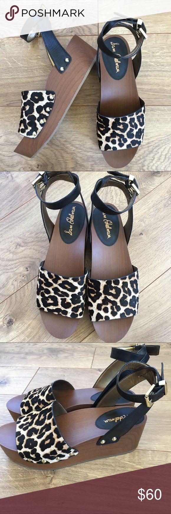 NIB SAM EDELMAN Brynn Leopard Wedge Sandal - 8.5 New in box. SAM EDELMAN Brynn Leopard Wedge Sandal - 8.5. Adjustable ankle strap. Gold colored hardware. Smoke free home. Sam Edelman Shoes Platforms