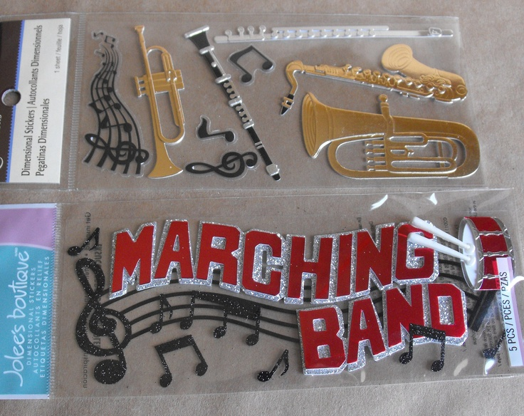 Marching Band stickers by Jolees Scrapbooking Card Making Paper Crafting trombone Clarinet saxophone flute. $5.00, via Etsy.