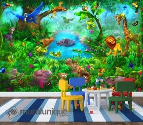 """The Jungle Themed Room: We have several murals that can create a jungle atmosphere in your kid's room. Take a look at our mural """"Jungle"""", """"Pandas"""", """"Tiger Paradise"""" and """"Bird's Paradise"""". Mural """"Jungle"""". A Wallpaper Mural by Muralunique.com. This is an original painting from Birgit Schulz."""