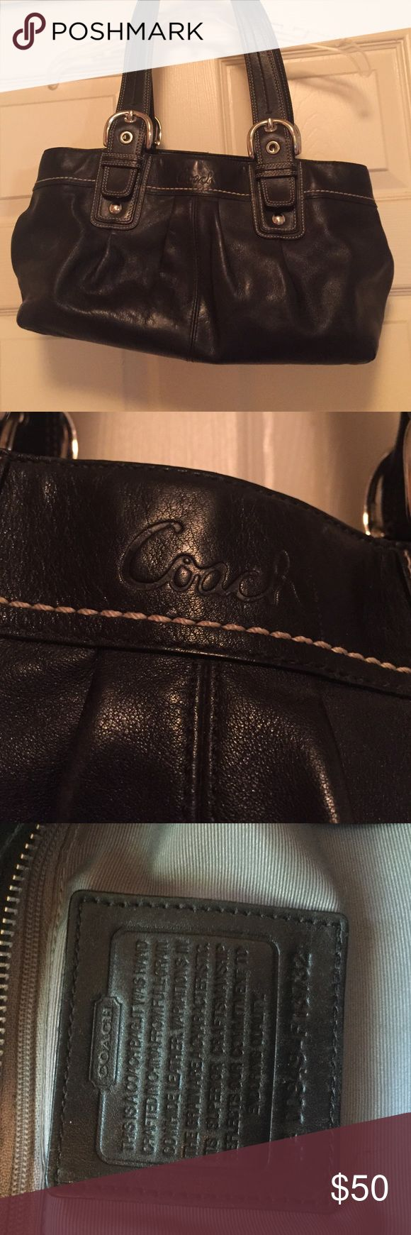 Black Coach Satchel In great condition. Lining has a few small stains from use but overall this bag is in great condition and has many years left. 14 inches long. 8 inches deep from top of bag and from the handle drop its 18 inches. Coach Bags Satchels