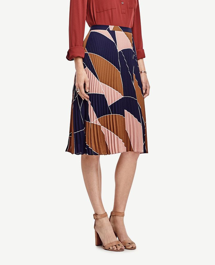 Mosaic Pleated Skirt | Ann Taylor