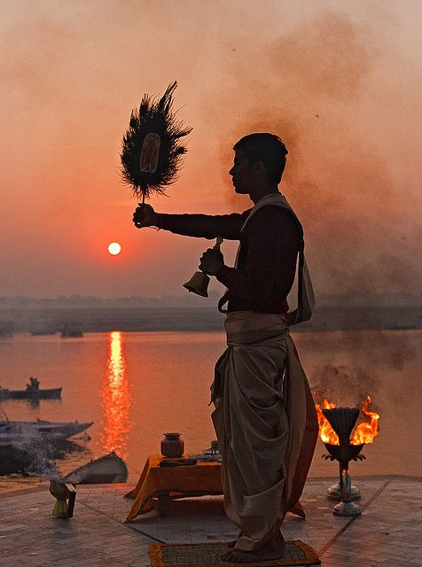 Sunrise Hindu ceremony called the Aarti or waving of Divaas on the banks of River Ganga , India #Hinduism #peace #India
