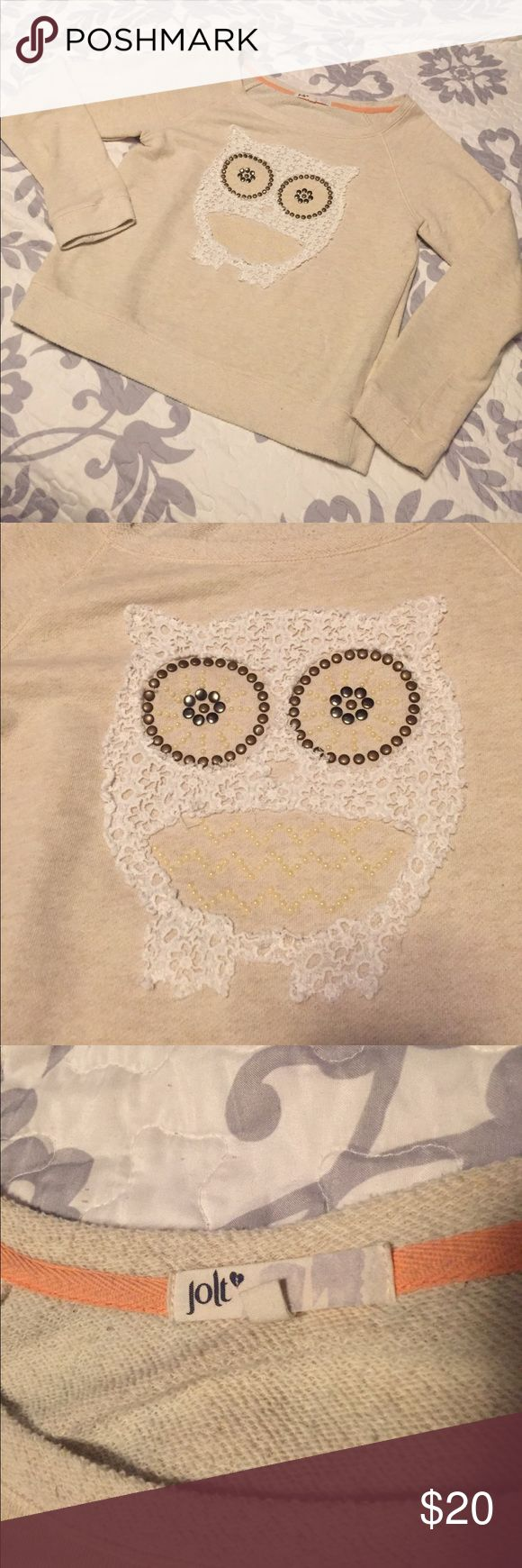 • owl sweater • beige owl sweatshirt, size large. brand is jolt. worn and washed once, in good condition. same or next day shipping, smoke free home. for my reference only: item #36 Jolt Sweaters
