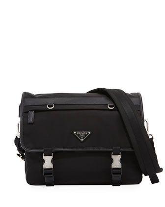 Tessuto+Montagno+Leather-Trim+Messenger+Bag+by+Prada+at+Bergdorf+Goodman.