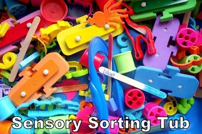 Sensory Sorting Tub: Sorting Tubs, Children Plays, Sensory Tubs, Math Sorting, Sensory Bins, Crafts Activities, Sensory Plays, Pre Math, Sensory Sorting
