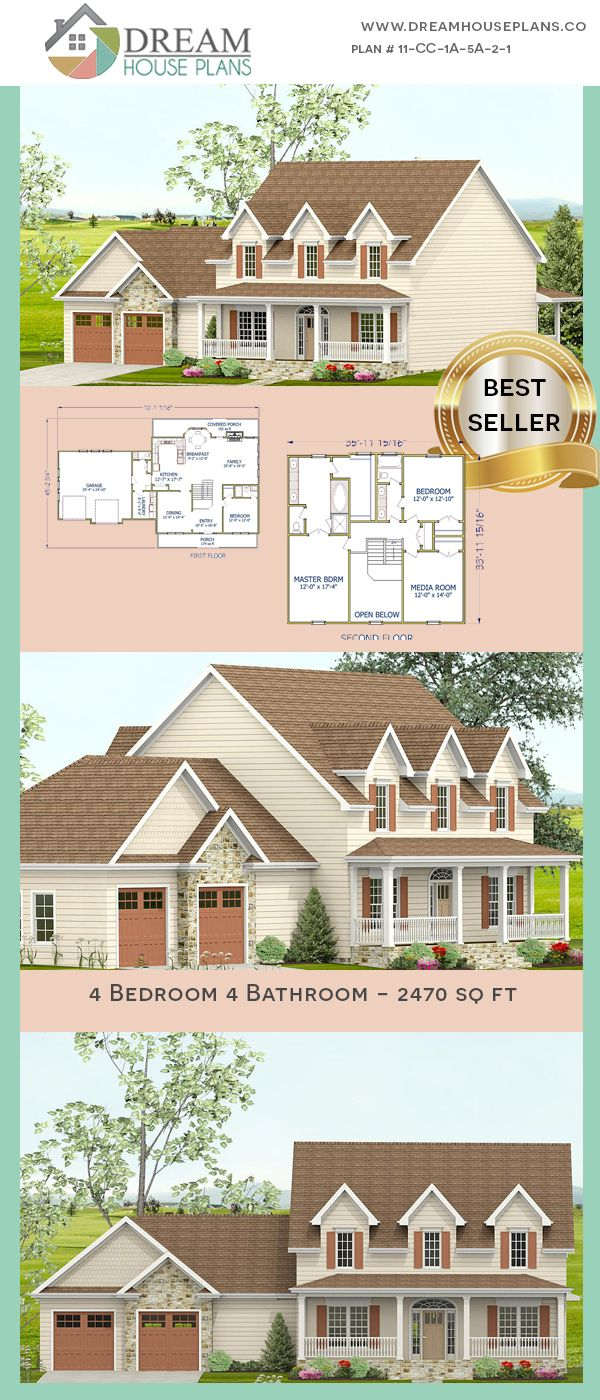 Good Dream House Plans: Unique Custom Luxury 4 Bedroom, 2470 Sq. Ft. House Plan  With Porches. Shop Our Exclusive Collection Of Small, Large, Simple And  Luxury ...