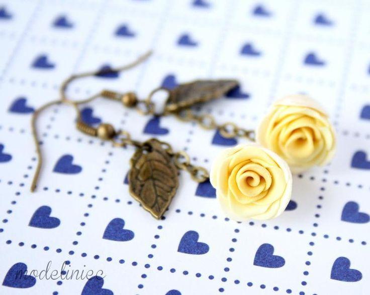 Kolczyki żółte róże w Modeliniec na DaWanda.com
