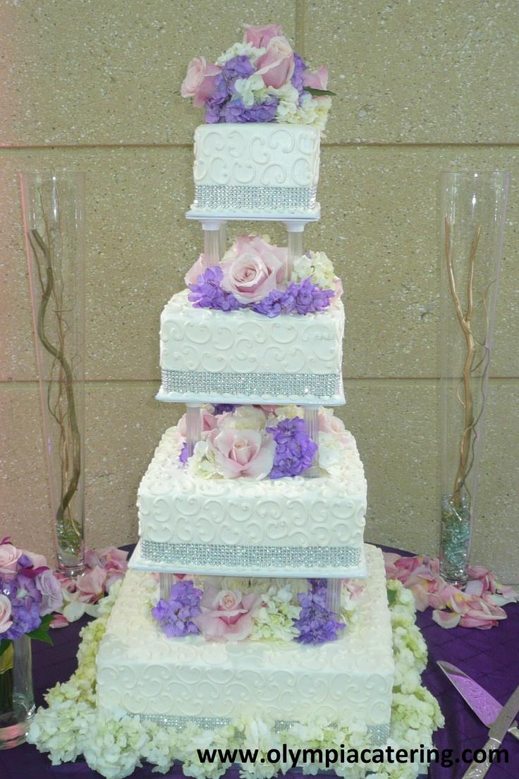 Square Wedding Cake, White Swirls. Rhinestones, Fresh ...