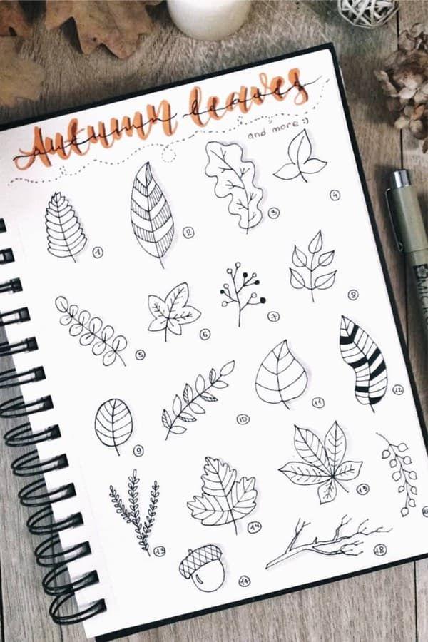 Beste Bullet Journal Doodle Ideen für Halloween & Herbst 2019