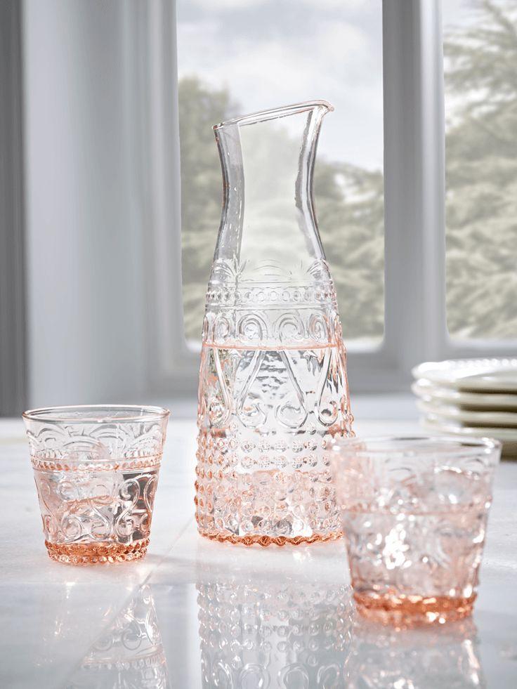 NEW Blush Embossed Glassware